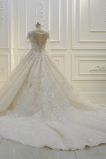 BMbridal Luxury Ball Gown Jewel Tulle Wedding  Dress Long Sleeves Lace Applqiues Beadings Bridal Gowns On Sale_3