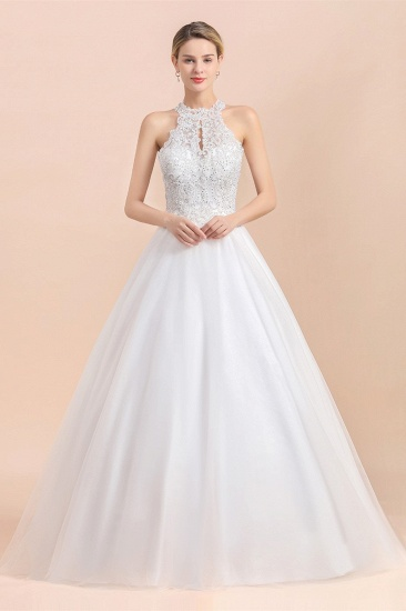 BMbridal Exquisite High-Neck Lace Wedding Dress Appliques Sequins Sleeveless Bridal Gowns On Sale_5