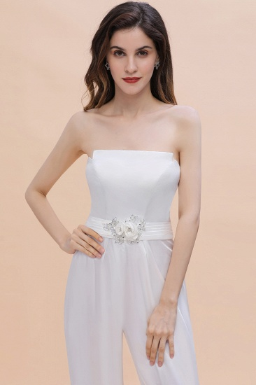 BMbridal Fashion Strapless Satin Sleeveless Bridesmaid Jumpsuit with Beading Flowers On Sale_8