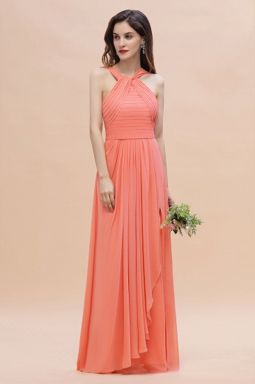 BMbridal Gorgeous A-Line Sleeveless Coral Chiffon Bridesmaid Dress with Ruffles On Sale_4