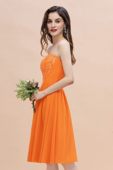 BMbridal Pretty Strapless Sweetheart Chiffon Sequins Short Bridesmaid Dress with Ruffles_6