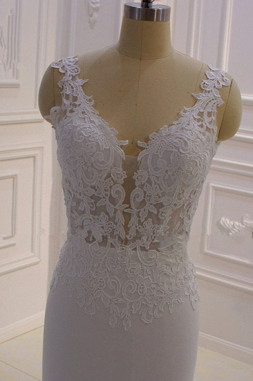 BMbridal Simple Mermaid Tulle Wedding Dress Straps Sleeveless V-Neck Bridal Gowns On Sale_5