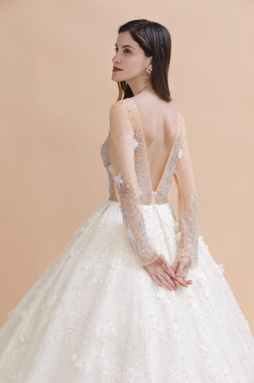 Luxury Ball Gown Tulle Lace Wedding Dress Long Sleeves Appliques Pearls Bridal Gowns with Flowers On Sale_6