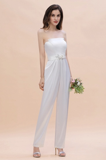 Fashion Strapless Satin Sleeveless Bridesmaid Jumpsuit with Beading Flowers On Sale_4