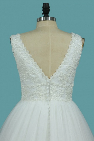 Gorgeous A-Line Tulle Wedding Dress Sleeveless Lace Pearls Bridal Gowns On Sale_5