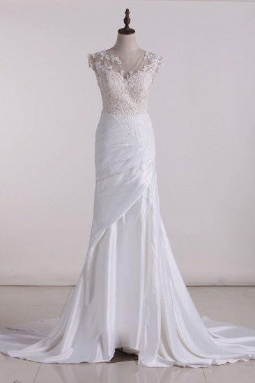 Chic Jewel Tulle White Satin Wedding Dress Lace Appliques Ruffles Sleeveless Bridal Gowns On Sale