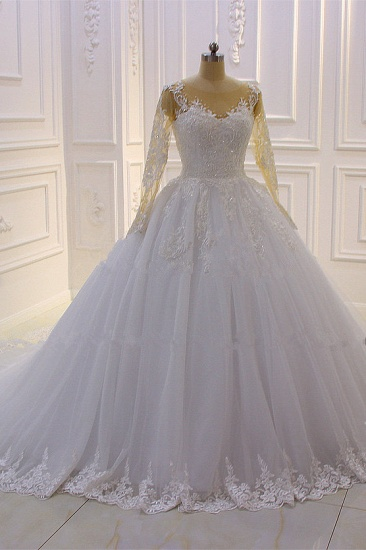 BMbridal Ball Gown Tulle Appliqus Wedding Dress Long Sleeves Jewel Beading Ruffles Bridal Gowns On Sale_4