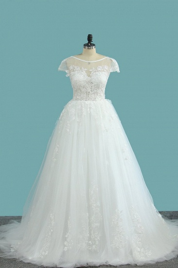 Elegant Jewel Tulle Lace Wedding Dress Short Sleeves Appliques Ruffles Bridal Gowns Online