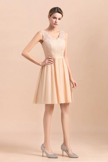BMbridal Pretty V-Neck Chiffon Lace Short Bridesmaid Dress with Ruffles Online_4