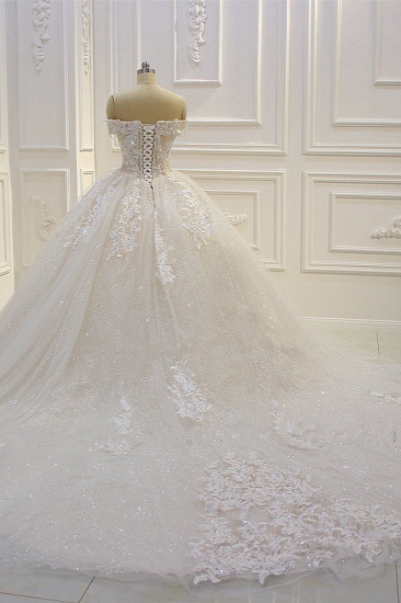 Luxury Ball Gown Strapless Tulle Wedding Dress Lace Appliques Sleeveless Sequined Bridal Gowns On Sale_5