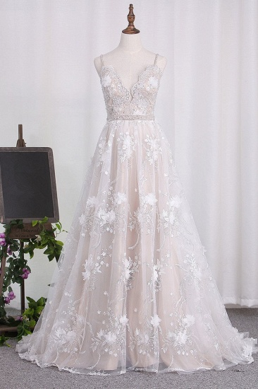 Sexy Spaghetti Straps Tulle Wedding Dress Backless Lace Beadings Bridal Gowns with Flowers