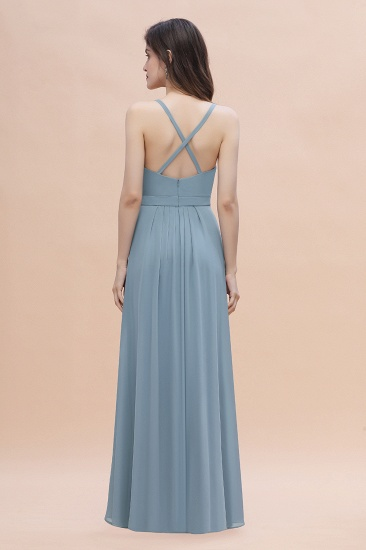 Gorgeous A-Line Straps Dusty Blue Chiffon Bridesmaid Dress with Ruffles On Sale_3