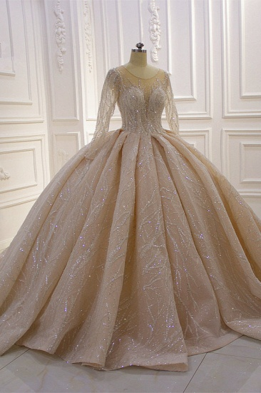 BMbridal Glamorous Ball Gown Tulle Jewel Wedding Dress Long Sleeves Ruffles Beadings Sequined Bridal Gowns Online_4