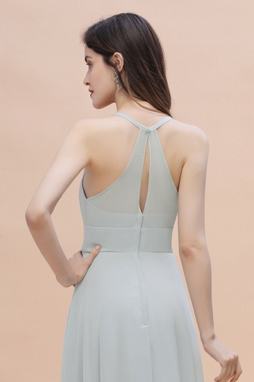 Simple Straps A-line Chiffon Mist Bridesmaid Dress with Ruffles Online_9