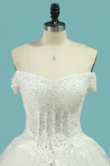BMbridal Chic Strapless Sweetheart Tulle Wedding Dress Sleeveless Lace Appliques Bridal Gowns On Sale_4