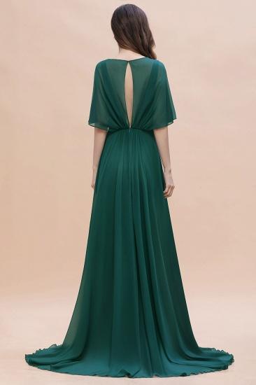 BMbridal Gorgeous V-Neck Chiffon Ruffles Beading Bridesmaid Dress with Half Sleeves_3