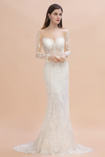 BMbridal Gorgeous Jewel Tulle Lace Wedding Dress Long Sleeves Appliques Mermaid Bridal Gowns On Sale_1