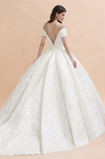 Luxury Ball Gown  Lace Satin Sweetheart Wedding Dress Sleeveless Bridal Gowns with V-Back On Sale_3