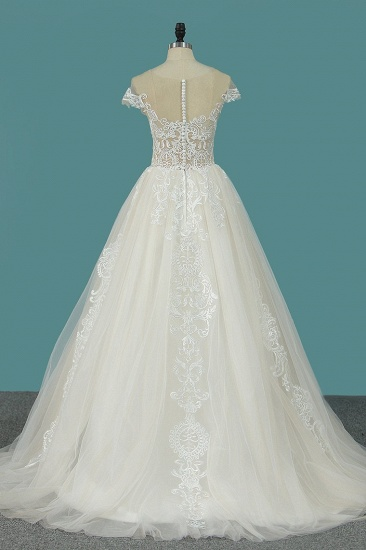 BMbridal Elegant Jewel Tulle Lace Wedding Dress Sleeveless Appliques Ruffles Bridal Gowns Online_3