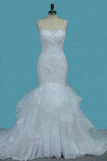 Gorgeous Straps Sweetheart Mermaid Wedding Dress Tulle Lace Appliques Ruffles Bridal Gowns Online