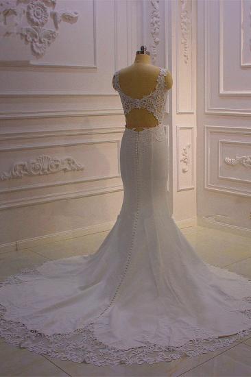 BMbridal Simple Mermaid Tulle Wedding Dress Straps Sleeveless V-Neck Bridal Gowns On Sale_4