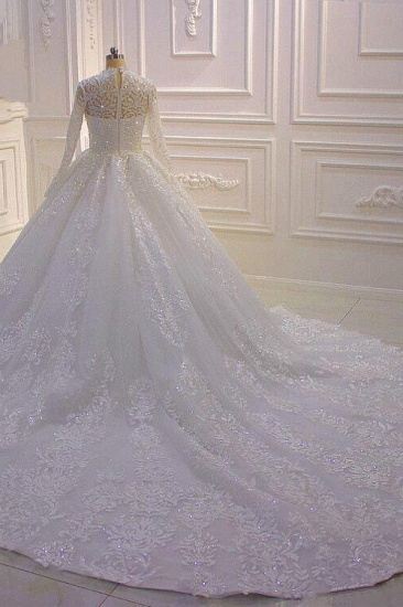 BMbridal Luxury Ball Gown High Neck Tull Lace Wedding Dress Long Sleeves Appliques Sequins Bridal Gowns Online_4