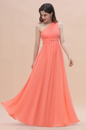 BMbridal Chic One-Shoulder Ruffles Chiffon Coral Bridesmaid Dresses On Sale_9