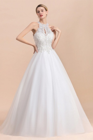 BMbridal Exquisite High-Neck Lace Wedding Dress Appliques Sequins Sleeveless Bridal Gowns On Sale_7