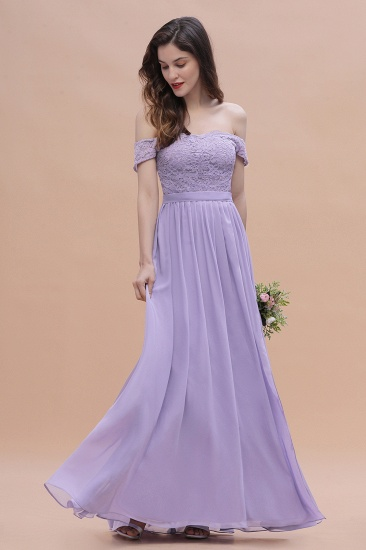 BMbridal Sexy Off-the-Shoulder Lace Chiffon Ruffles Bridesmaid Dress with Slit On Sale_10