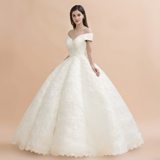 BMbridal Luxury Ball Gown Off-the-Shoulder Sweetheart Wedding Dress Sleeveless Lace Satin Bridal Gowns On Sale_10