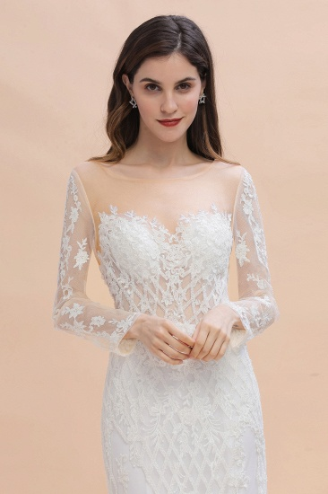 BMbridal Gorgeous Jewel Tulle Lace Wedding Dress Long Sleeves Appliques Mermaid Bridal Gowns On Sale_7