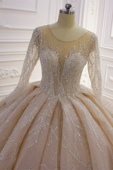 BMbridal Glamorous Ball Gown Tulle Jewel Wedding Dress Long Sleeves Ruffles Beadings Sequined Bridal Gowns Online_6