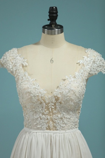 Simple Chiffon Ruffles Lace Wedding Dress Appliques Cap Sleeves V-neck Beadings Bridal Gowns On Sale_6