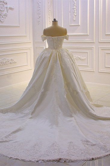 Elegant Off-the-Shoulder Tulle Wedding Dress Sweetheart Lace Appliques Bridal Gowns with Overskirt On Sale_3