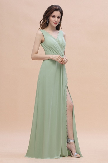 BMbridal Sexy Chiffon Ruffles Dusty Sage Bridesmaid Dress with Lace Edge On Sale_5