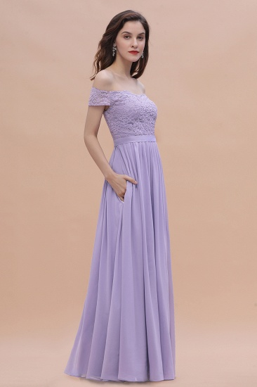 BMbridal Sexy Off-the-Shoulder Lace Chiffon Ruffles Bridesmaid Dress with Slit On Sale_8