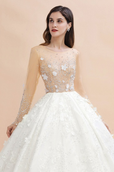 Luxury Ball Gown Tulle Lace Wedding Dress Long Sleeves Appliques Pearls Bridal Gowns with Flowers On Sale_5