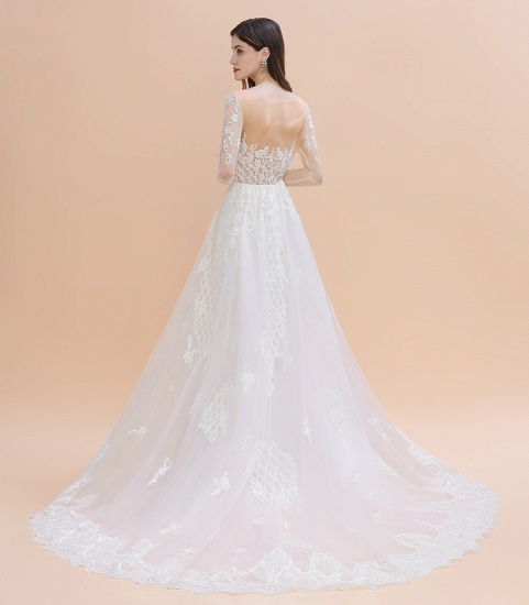 BMbridal Gorgeous Jewel Tulle Lace Wedding Dress Long Sleeves Appliques Mermaid Bridal Gowns On Sale_9
