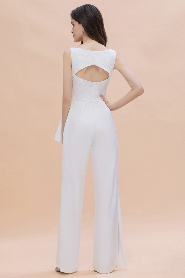 BMbridal Fashion V-Neck Lace Side Slit Bridesmaid Jumpsuits with Hollowout On Sale_3