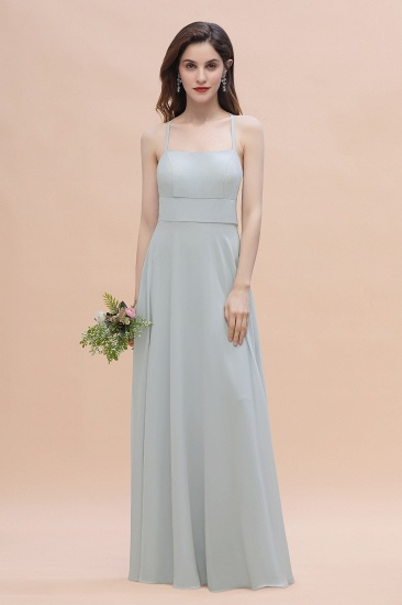 Simple Straps A-line Chiffon Mist Bridesmaid Dress with Ruffles Online_6