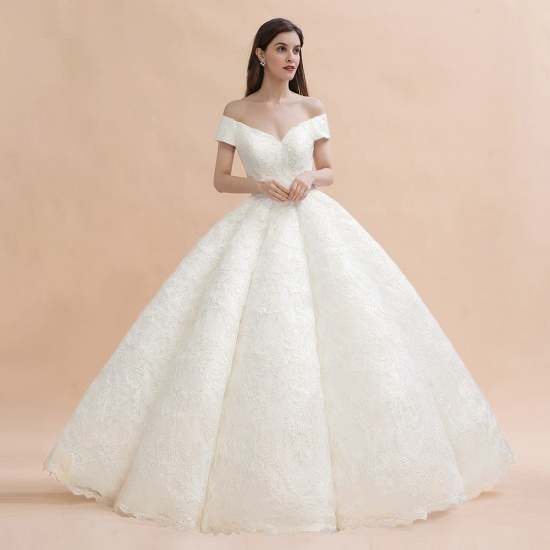BMbridal Luxury Ball Gown Off-the-Shoulder Sweetheart Wedding Dress Sleeveless Lace Satin Bridal Gowns On Sale_7