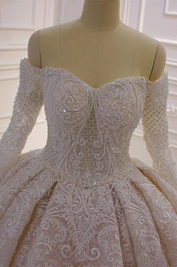 BMbridal Gorgeous Ball Gown Strapless Sequins Wedding Dress Long Sleeves Tulle Lace Bridal Gowns On Sale_6