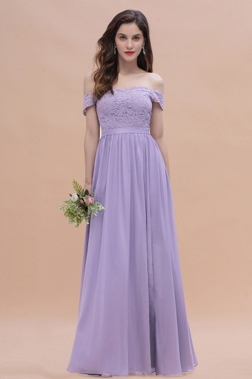 Sexy Off-the-Shoulder Lace Chiffon Ruffles Bridesmaid Dress with Slit On Sale