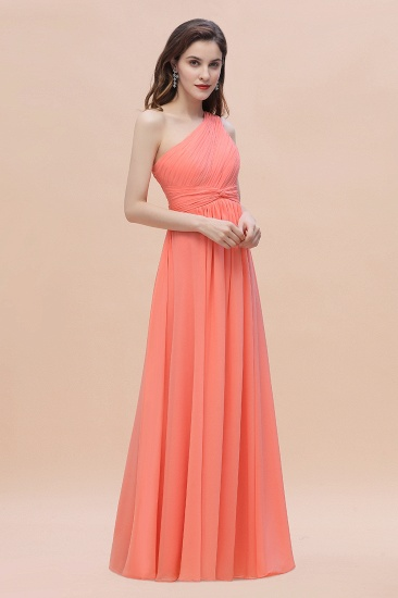 BMbridal Chic One-Shoulder Ruffles Chiffon Coral Bridesmaid Dresses On Sale_10