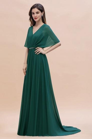 BMbridal Gorgeous V-Neck Chiffon Ruffles Beading Bridesmaid Dress with Half Sleeves_6