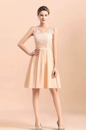 BMbridal Pretty V-Neck Chiffon Lace Short Bridesmaid Dress with Ruffles Online_6