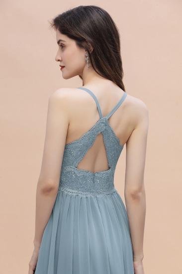 Stylish Straps V-Neck Chiffon Lace Dusty Blue Bridesmaid Dress On Sale_9