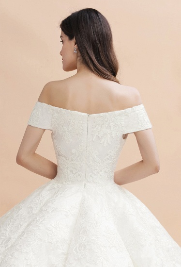 BMbridal Luxury Ball Gown Off-the-Shoulder Sweetheart Wedding Dress Sleeveless Lace Satin Bridal Gowns On Sale_5
