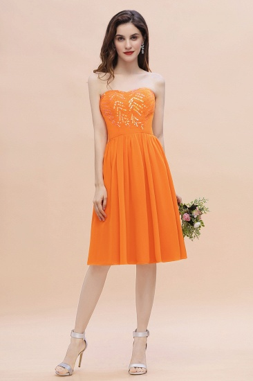 BMbridal Pretty Strapless Sweetheart Chiffon Sequins Short Bridesmaid Dress with Ruffles_5