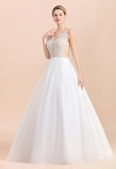 BMbridal Boho V-Neck Lace Wedding Dress Tulle Appliques Sleeveless Bridal Gowns On Sale_8